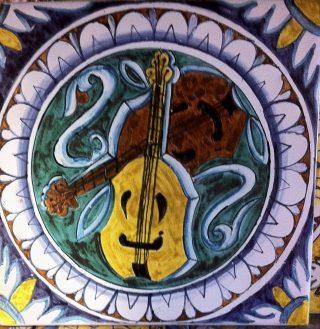 Mattonella ceramica dipinta a mano Collezione Cinquecento10 del Rinascimento Italiano